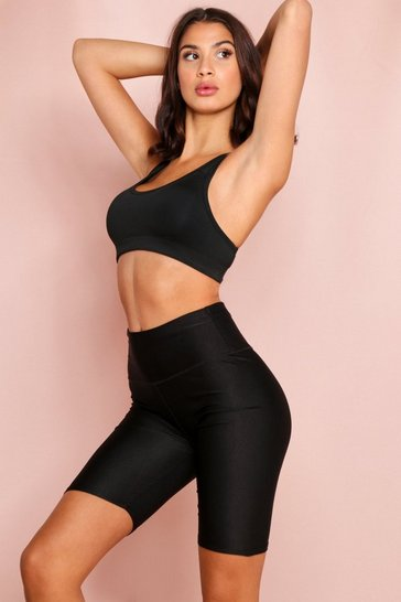 Black High Waisted Disco Cycling Shorts