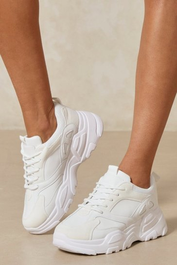 White Plain Chunky Sole Trainer