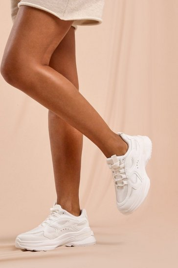 White Chunky Panel Detail Sneakers