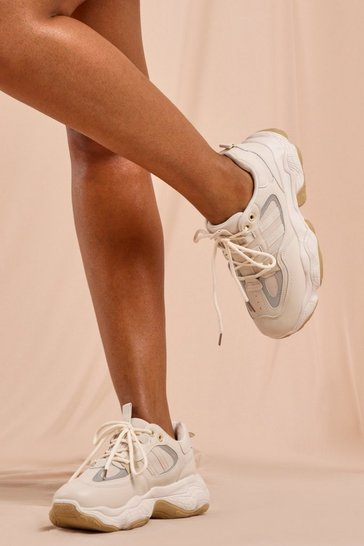 Nude Mesh Detail Chunky Trainer