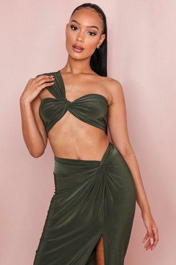 Khaki Twist Front One Shoulder Crop Top
