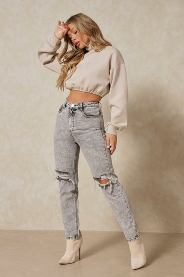 Black Acid Wash Distressed Mom Jeans