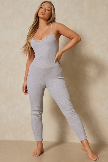 Grey Ribbed Strappy Low Back Jumpsuit