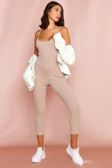 Stone Ribbed Strappy Low Back Jumpsuit