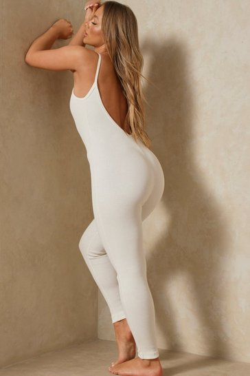 White Ribbed Strappy Low Back Jumpsuit