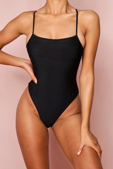 Black Strappy Square Neck Swim Suit