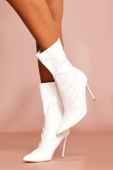 White Leather Look Pointed Heeled Boot