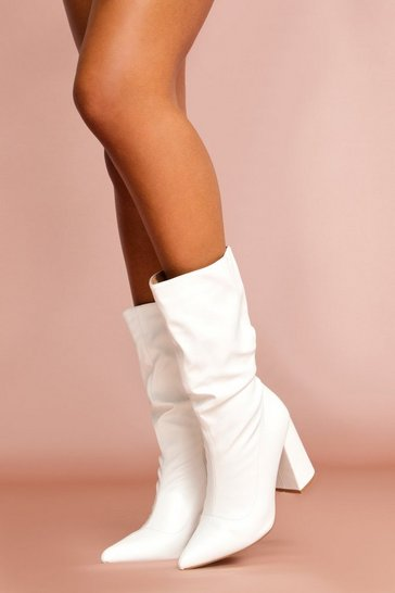White Leather Look Block Heel Boot
