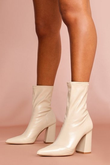 Beige Leather Look Block Heel Boot