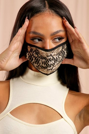 Brown Snake Fashion Face Mask