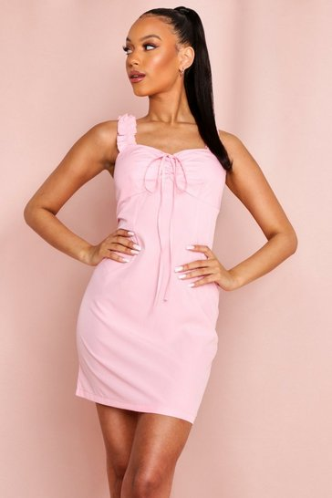 Pink Ruched Sleeve Mini Dress