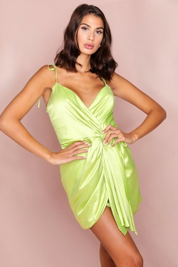 Lime Satin Drape Front Mini Dress