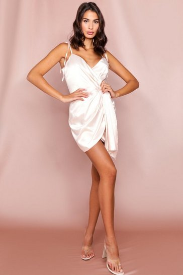 Nude Satin Drape Front Mini Dress