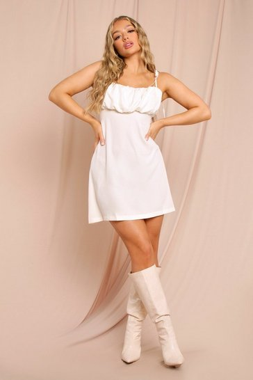 Cream Tie Strap Ruched Mini Dress