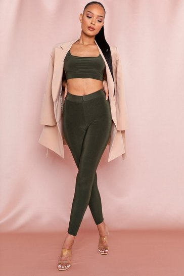 Khaki Double Layer V Waist Leggings