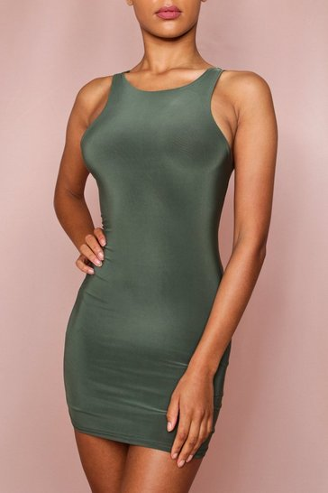 Khaki Sleeveless Double Layer Mini Dress