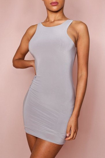 Silver grey Sleeveless Double Layer Mini Dress