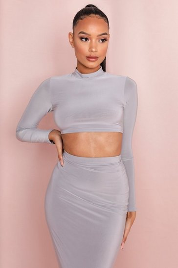 Silver grey Double Layer Long Sleeve Turtle Neck Top
