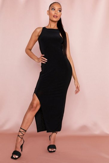 Black Slinky Slit Maxi Dress