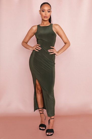 Khaki Slinky Slit Maxi Dress