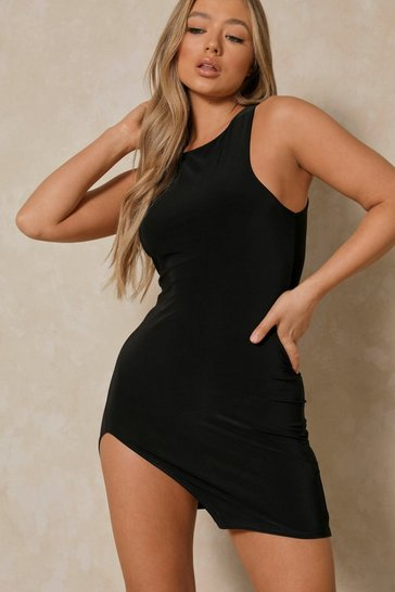 Black Slinky Mini Slit Dress