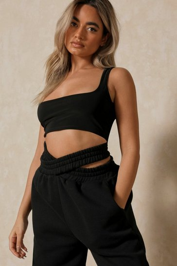 Black Double Layer Vest Top