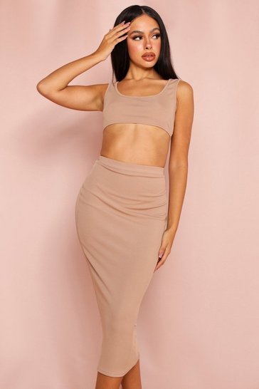 Camel Ribbed Scoop Crop & Midi Skirt Set
