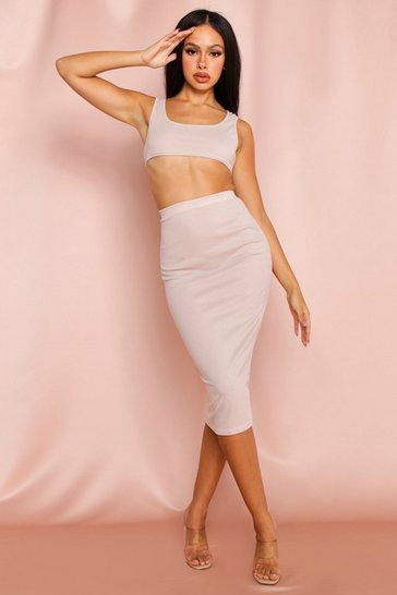 Stone Ribbed Scoop Crop & Midi Skirt Set