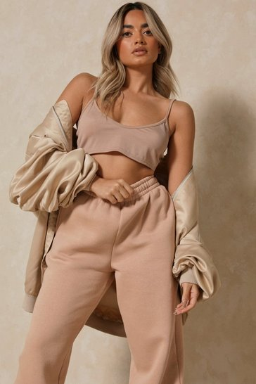 Camel Ribbed Strappy Vest Scoop Crop Top