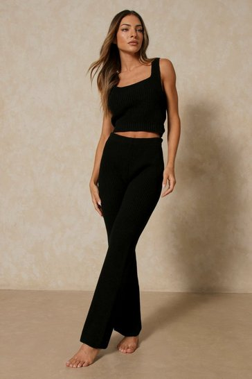 Black Tank Top & Wide Leg Pants Knitted Set