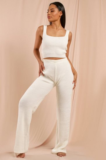 Cream Vest & Wide Leg Trouser Knitted Set