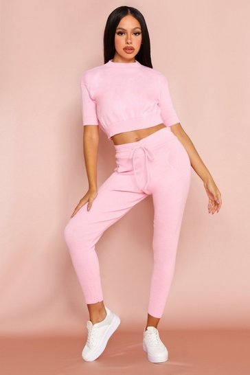 Pink Jogger & Knitted Crop Top Co-Ord
