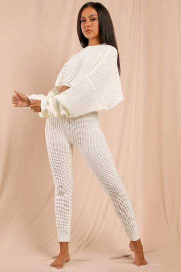 Cream Bubble Knit Legging & Oversized Top Set