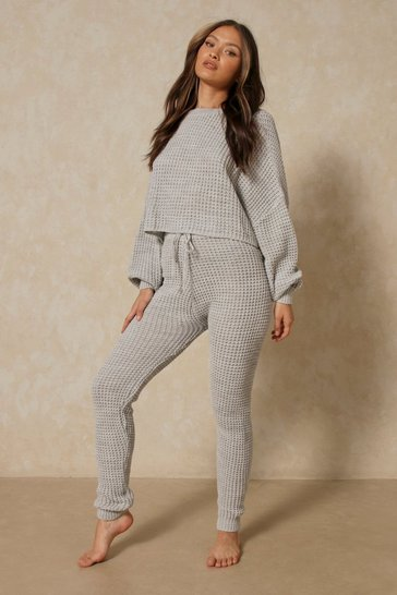 Grey Bubble Knit Legging and Oversized Top Set