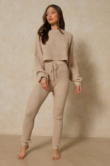 Honey Bubble Knit Legging and Oversized Top Set