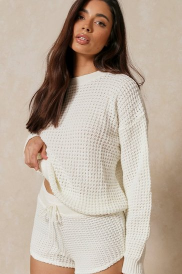 Cream Bubble Knit Oversized Batwing Top & Short Set