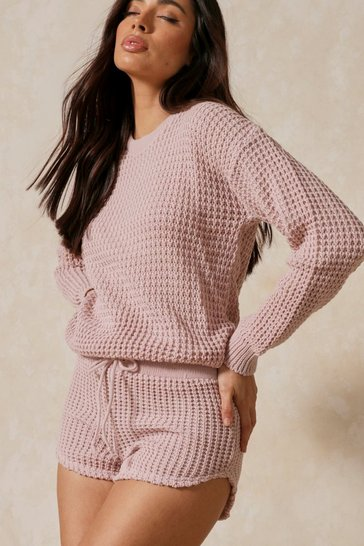 Pink Bubble Knit Oversized Batwing Top & Short Set