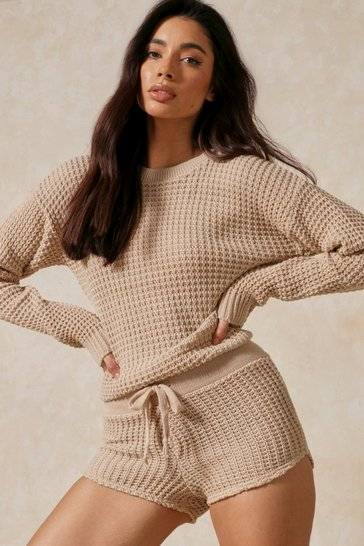 Stone Bubble Knit Oversized Batwing Top & Short Set