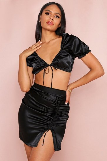 Black Side Ruched Detail Mini Skirt