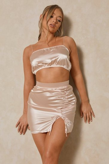 Nude Side Ruched Detail Mini Skirt