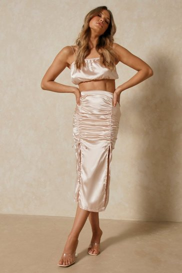 Nude Ruched Detail Midi Skirt