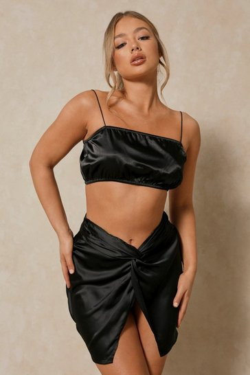 Black Puffball Satin Strappy Crop Top