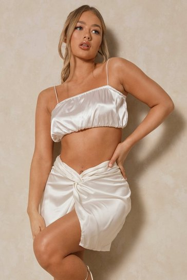 White Puffball Satin Strappy Crop Top