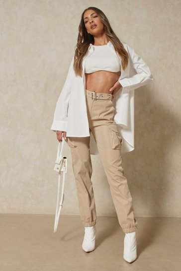 Beige Belted Utility Cargo Trouser