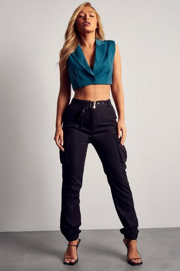 Black Belted Utility Cargo Trouser