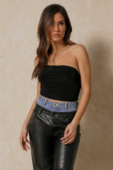 Black Double Layered One Shoulder Cut Out Bodysuit