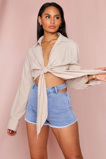 Stone Tie Front Linen Shirt