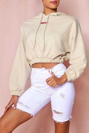 White Ripped Denim Biker Short