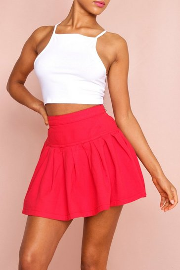 Red Denim Skater Mini Skirt