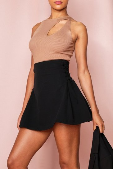Black Lace Up Side Seam Mini Skirt